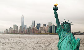 New York cityscape and Statue of Liberty, USA Stock Photography