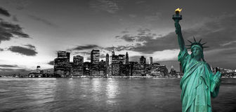 New York cityscape and Statue of Liberty, USA Royalty Free Stock Photo