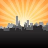 New York cityscape on Sunburst Pattern Stock Photography