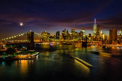 New York cityscape after sunset Stock Image