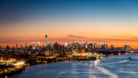 New York cityscape at sunset stock photography