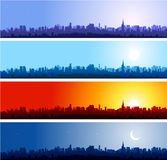 New York Cityscapes. New york cityscape at different time of the day. Morning, day, night Stock Photos