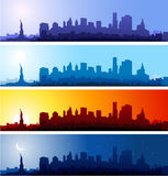 New York Cityscapes. New york cityscape at different time of the day. Morning, day, night Royalty Free Stock Photo