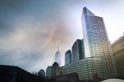 New York Cityscapes from Battery Park, Manhattan, New York, USA. New York Cityscapes, high-rise buildings, and dramatic sky. View from Battery Park, Manhattan stock photography