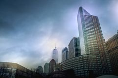 New York Cityscapes from Battery Park, Manhattan, New York, USA. New York Cityscapes, high-rise buildings, and dramatic sky. View from Battery Park, Manhattan stock photo