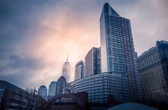 New York Cityscapes from Battery Park, Manhattan, New York, USA. New York Cityscapes, high-rise buildings, and dramatic sky. View from Battery Park, Manhattan royalty free stock images