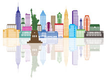 New- York Cityskyline-Farbvektor-Illustration Lizenzfreie Stockfotos
