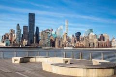 New- York Cityskyline gesehen vom Bock-Nationalpark in Long Island-Stadt lizenzfreie stockfotos