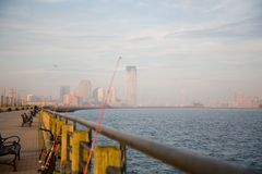New- York CitySkyline im Fall-Sonnenuntergang Stockbilder