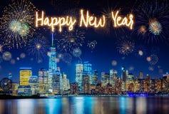 New- York Cityskyline mit blinkender Feuerwerksfeier Lizenzfreies Stockbild