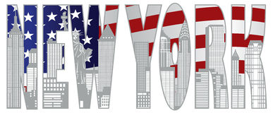 New- York Cityskyline-Text Ooutline-Vektor-Illustration Stockfotos