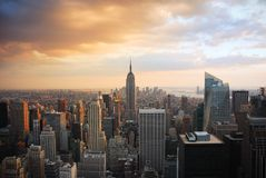 New- York Citysonnenuntergang Lizenzfreie Stockfotos
