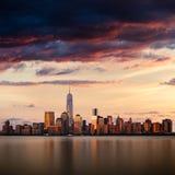 New- York Citystadtbild während des Sonnenuntergangs stockbilder