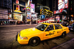 New- York Citytaxi, Times Square Stockfotos