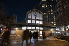 New- York Cityu-bahnstation im Winter Lizenzfreies Stockbild