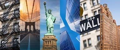 New York, colagem panorâmico da foto, marcos de New York viaja e conceito do turismo imagens de stock