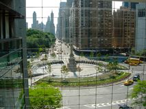 New York Columbus Circle från Tid Warner Building Window arkivfoton