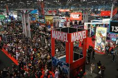 New York Comic Con 2018 Thursday 8. The New York Comic Con is an annual New York City fan convention dedicated to Western comics, graphic novels, anime, manga stock photography