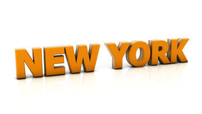 New york in 3d. Word new york in orange in 3d on white background Royalty Free Stock Image