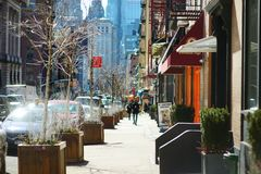NEW YORK - 21 DE MARÇO DE 2015: Ideia da comunidade italiana nomeada Pequeno Itália em Manhattan do centro, New York City fotos de stock royalty free
