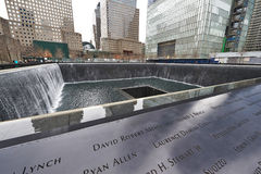New York 9/11 de memorial no ponto zero do World Trade Center Fotografia de Stock