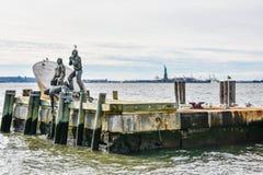 New York, de V Amerikaans Koopvaardijmariners memorial in Batterijpark royalty-vrije stock fotografie