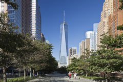 NEW YORK, de V.S. - Freedom Tower in Lower Manhattan Royalty-vrije Stock Afbeeldingen