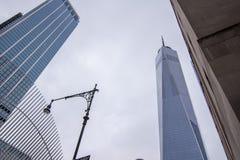New York, de V.S. - 30 Maart, 2018: Moderne gebouwen bij wereldtra Royalty-vrije Stock Foto's