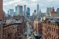 New York, de V.S., September, 2016: Luchtmening van Chinatown in de stad van New York van de brug van Manhattan stock foto's