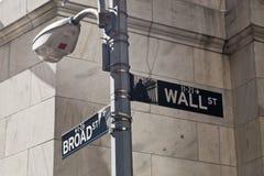 New York, de V.S. - Wall Street-straatteken op de pool Stock Foto