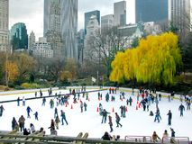 NEW YORK - DECEMBER 3: Ice skaters having fun in Central Park Royalty Free Stock Photography