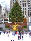 NEW YORK - December 3: Skaters having fun at Rockefeller Center Stock Photo