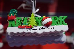 New York City themed Christmas ornaments on display in Manhattan royalty free stock photography