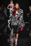 Selena Forrest walks the runway at the Versace Pre-Fall 2019 Collection. NEW YORK, NEW YORK - DECEMBER 02: Selena Forrest walks the runway at the Versace Pre stock images