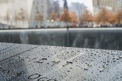 NEW YORK, DEGLI STATI UNITI 22 NOVEMBRE: Un dettaglio di 9/11 di memoriale commemorativo dentro Fotografia Stock