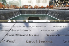 New York 9/11 Denkmal am World Trade Center-Bodennullpunkt Stockfotos