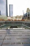 New York 9/11 Denkmal am World Trade Center-Bodennullpunkt Lizenzfreie Stockfotos
