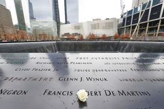 New York 9/11 Denkmal am World Trade Center-Bodennullpunkt Stockfotografie