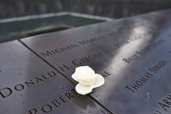 New York 9/11 Denkmal am World Trade Center-Bodennullpunkt Stockbilder