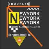New York/design för Brooklyn stads-/nyctypografi för t-skjorta stock illustrationer