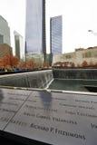New York 9/11 di memoriale al ground zero del World Trade Center Fotografie Stock Libere da Diritti
