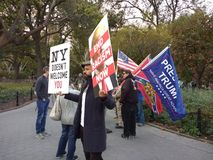 New York Does Not Welcome You, Confederate Flag in Washington Square Park, NYC, NY, USA Stock Photo