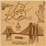 New York doodle freehand. Freehand drawing Sites New York City Stock Photos
