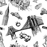 New York doodle freehand. Freehand drawing Sites New York City Stock Image