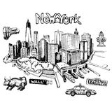New York doodle freehand. Freehand drawing Sites New York City Royalty Free Stock Photos
