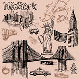 New York doodle freehand. Freehand drawing Sites New York City Stock Photo