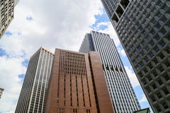 New York - Downtown. New York City, USA - May 19, 2014: Some high buildings in Downtown Manhattan Royalty Free Stock Photos