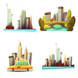 New York Downtown 2x2 Design Compositions. New york downtown 2x2 cartoon compositions with skylines statue of liberty yellow cab central park elements flat Royalty Free Stock Photography