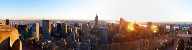 New York downtown panorama with Empire State building Stock Photos