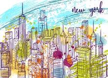 New York Drog stadslandskapet och färgstänk för tappning utformar den färgrika handen i vattenfärg Arkivfoto